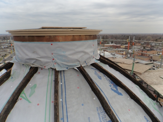 This is the turret on top of the dome before her new copper roof.
