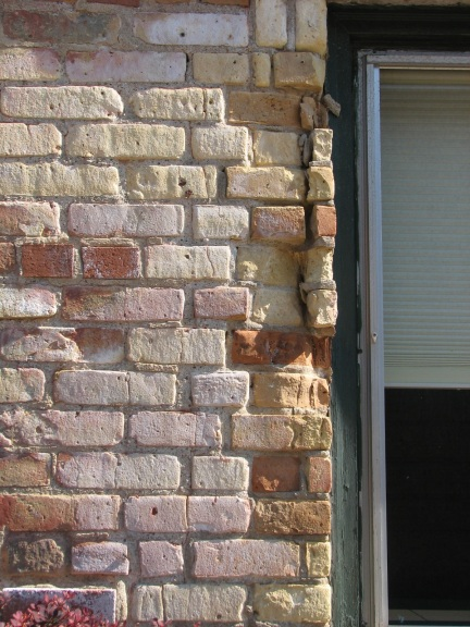 The south side of the Sheriff's House and the Courthouse needed immediate repairs to stop the spalling of brick faces, cracking, and bricks actually falling off the building.