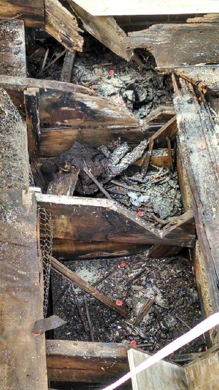 What's left of the framing that supported the gutter system along the edge of the roof.
